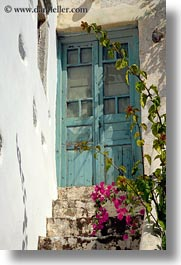 amorgos, bougainvilleas, doors, doors & windows, europe, greece, old, vertical, photograph