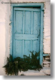 amorgos, blues, doors, doors & windows, europe, greece, green, lights, old, vertical, weeds, photograph