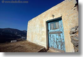 amorgos, blues, doors, doors & windows, europe, greece, horizontal, lights, old, walls, yellow, photograph