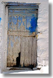amorgos, doors, doors & windows, europe, greece, old, vertical, white wash, woods, photograph