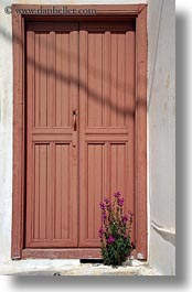 amorgos, doors, doors & windows, europe, flowers, greece, oranges, purple, vertical, photograph
