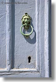 amorgos, bronze, doors, doors & windows, europe, greece, green, knockers, purple, vertical, photograph