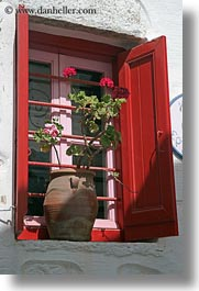 amorgos, doors & windows, europe, geraniums, greece, red, vertical, windows, photograph