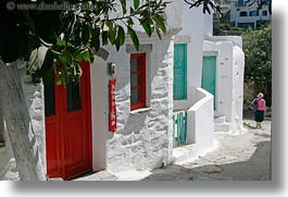 amorgos, doors & windows, europe, greece, green, horizontal, red, white, white wash, photograph