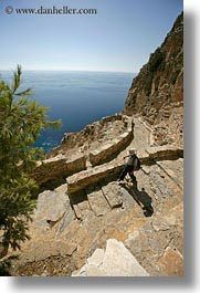 amorgos, cliffs, down, europe, greece, hiking, nature, ocean, stairs, vertical, walking, water, photograph