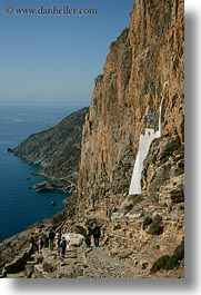 amorgos, cliffs, europe, greece, hiking, hozoviotissa monastery, monastery, mountains, nature, ocean, vertical, water, photograph
