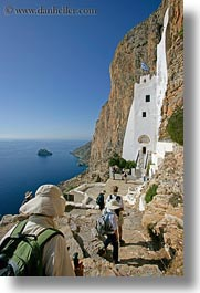 amorgos, cliffs, europe, greece, hiking, hozoviotissa monastery, monastery, mountains, nature, ocean, vertical, water, white wash, photograph