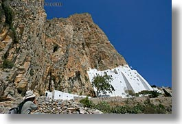 amorgos, cliffs, europe, greece, hiking, horizontal, hozoviotissa monastery, monastery, mountains, nature, white wash, photograph