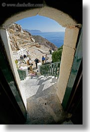 amorgos, archways, doors, europe, greece, hozoviotissa monastery, looking, out, structures, vertical, white wash, photograph