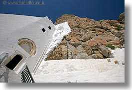 amorgos, cliffs, doors, europe, greece, horizontal, hozoviotissa monastery, monastery, mountains, nature, stairs, white wash, photograph