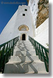 amorgos, doors, europe, greece, hozoviotissa monastery, monastery, stairs, vertical, white wash, photograph