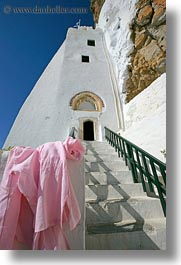 amorgos, doors, europe, greece, hozoviotissa monastery, monastery, pink, shirts, stairs, vertical, white wash, photograph