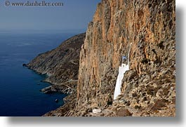 amorgos, cliffs, europe, greece, horizontal, hozoviotissa monastery, monatery, mountains, nature, ocean, water, white wash, photograph