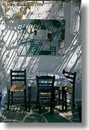 amorgos, chairs, europe, greece, paintings, shadows, vertical, photograph
