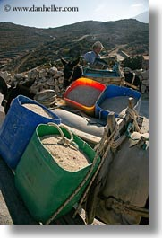amorgos, buckets, colorful, donkeys, europe, greece, sand, vertical, photograph