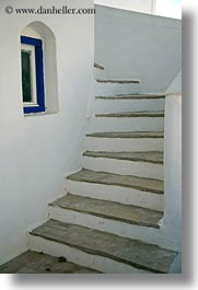 amorgos, arches, blues, curve, europe, greece, stairs, vertical, white wash, windows, photograph