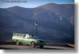 amorgos, europe, greece, green, horizontal, mountains, scenics, trucks, photograph
