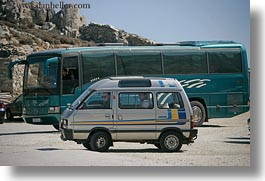 amorgos, big, bus, europe, greece, horizontal, little, vans, photograph