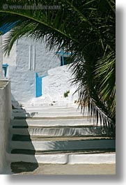 amorgos, blues, europe, gates, greece, palm trees, stairs, vertical, white wash, photograph