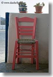 amorgos, chairs, europe, greece, pink, vertical, photograph