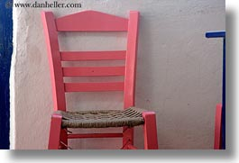 amorgos, chairs, europe, greece, horizontal, pink, photograph