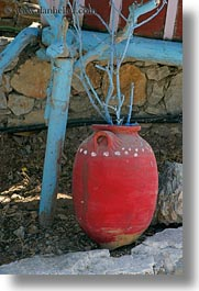 amorgos, blues, europe, greece, pots, red, trees, vertical, photograph