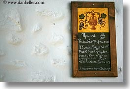amorgos, chalkboard, europe, greece, horizontal, menu, restaurants, photograph