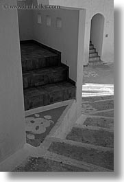 amorgos, arches, black and white, europe, greece, stairs, vertical, white wash, photograph