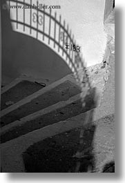 amorgos, black and white, europe, greece, railing, shadows, stairs, vertical, white wash, photograph