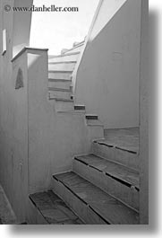 amorgos, black and white, europe, greece, stairs, vertical, walls, white wash, photograph