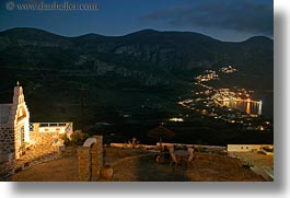 amorgos, churches, europe, greece, horizontal, lights, long exposure, mountains, scenics, photograph