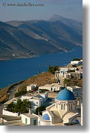 amorgos, bay, churches, europe, greece, mountains, scenics, tholaria, vertical, photograph