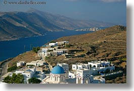 amorgos, bay, churches, europe, greece, horizontal, mountains, scenics, tholaria, photograph