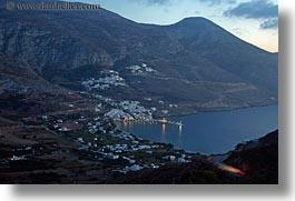 amorgos, bay, dusk, europe, greece, horizontal, mountains, scenics, slow exposure, photograph