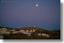 amorgos, europe, full, greece, homes, horizontal, moon, over, scenics, windmills, photograph