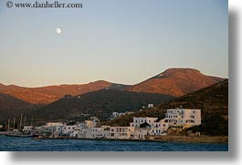 amorgos, europe, full, greece, horizontal, moon, mountains, over, scenics, towns, photograph