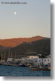 amorgos, europe, full, greece, moon, mountains, over, scenics, towns, vertical, photograph