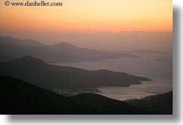 amorgos, bay, europe, greece, haze, hazy, horizontal, scenics, sunsets, photograph