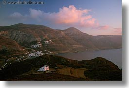 amorgos, bay, europe, greece, hills, homes, horizontal, scenics, photograph