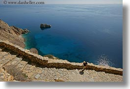 amorgos, cliffs, europe, greece, horizontal, ocean, people, scenics, stairs, photograph