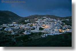 amorgos, dusk, europe, greece, horizontal, scenics, slow exposure, towns, photograph