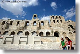 acropolis, arches, athens, clouds, europe, greece, high, horizontal, nature, people, sky, windows, photograph