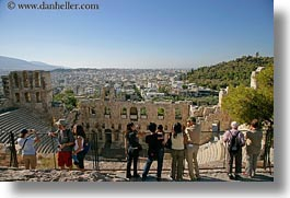 acropolis, arches, athens, buildings, cityscapes, europe, greece, high, horizontal, people, structures, windows, photograph