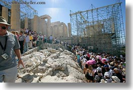 acropolis, athens, crowds, europe, greece, horizontal, scaffolding, structures, tourists, photograph