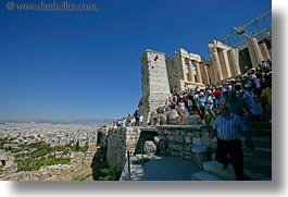 acropolis, athens, crowds, europe, greece, horizontal, tourists, photograph