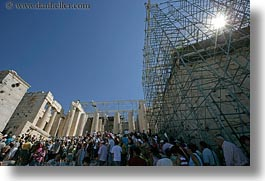 acropolis, athens, crowds, europe, greece, horizontal, nature, scaffolding, sky, structures, sun, tourists, photograph