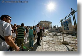 acropolis, athens, crowds, europe, greece, horizontal, nature, parthenon, sky, sun, viewing, photograph