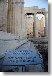acropolis, athens, europe, greece, marble, signs, touch, vertical, photograph