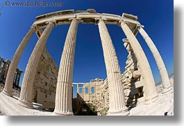acropolis, athens, erectheion, europe, fisheye lens, greece, horizontal, photograph