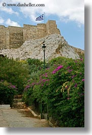 acropolis, athens, europe, flags, flowers, greece, greek, vertical, photograph